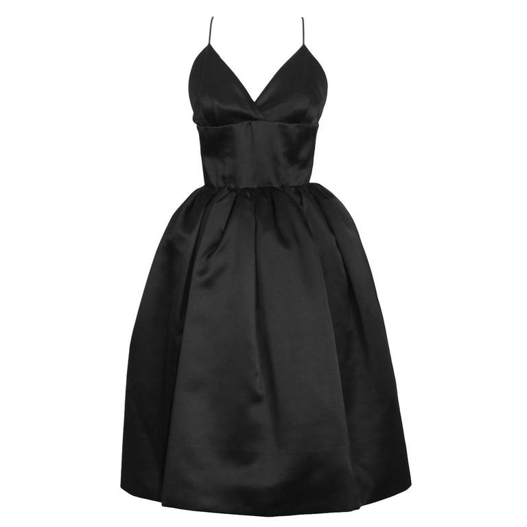 1950's Norell Black Satin Pouf Cocktail Dress For Sale