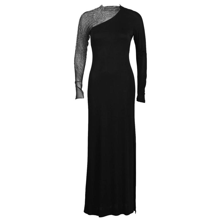 1950's Mollie Parnis Black Gown with Illusion Beaded Sleeve