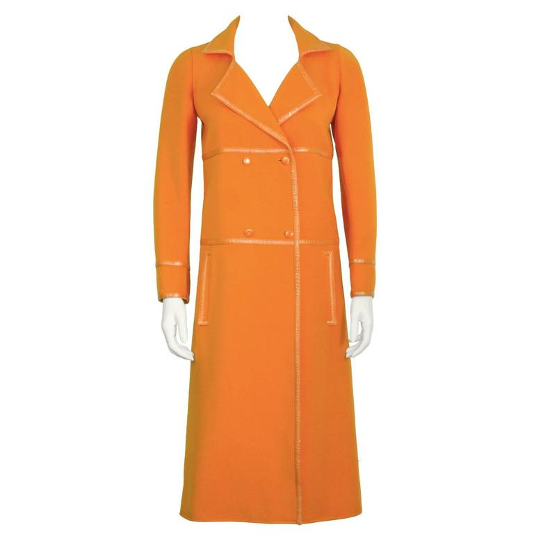 1960's Courreges Orange Mod Coat with Vinyl Trim