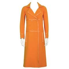 1960's Courreges Orange Mod Coat with Vinyl Trim
