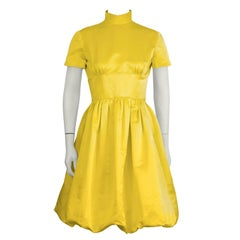 1960's I. Magnin Yellow Satin Bubble Hem Cocktail Dress