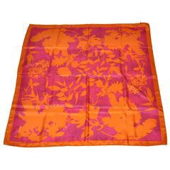 Borbonese Bold Fuchsia & Tangerine Floral Print Silk Scarf