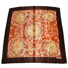 Ted Lapidus Large Multi-Color Silk Floral Scarf