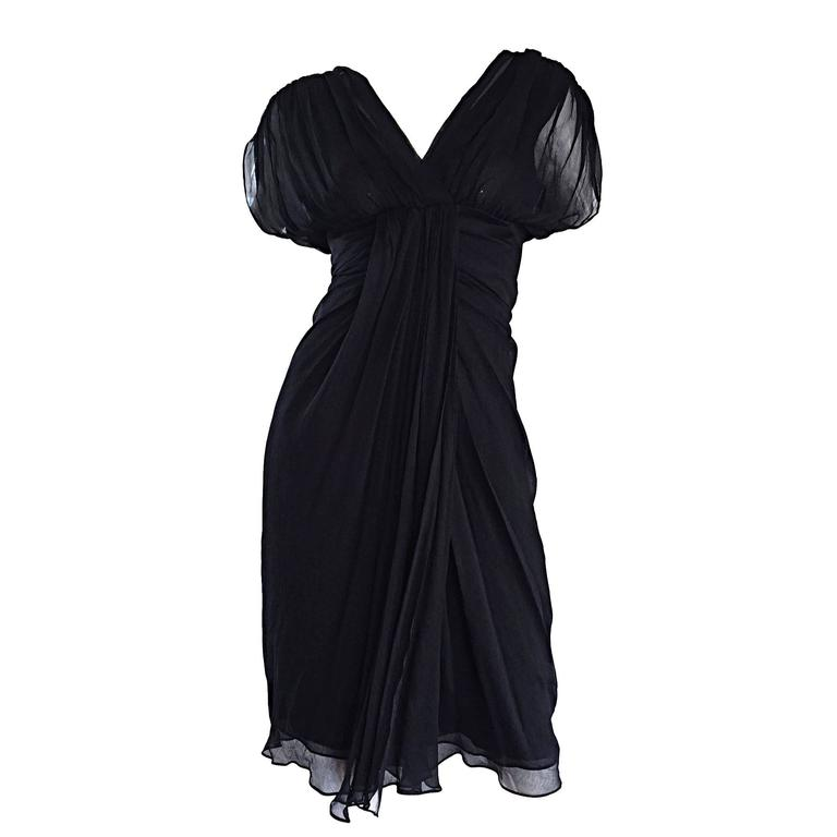 9e3e4edd5805 Diane Von Furstenberg Size 0 / 2 Black Silk Chiffon Grecian Dress Open Back  For Sale