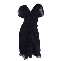 Diane Von Furstenberg Size 0 / 2 Black Silk Chiffon Grecian Dress Open Back