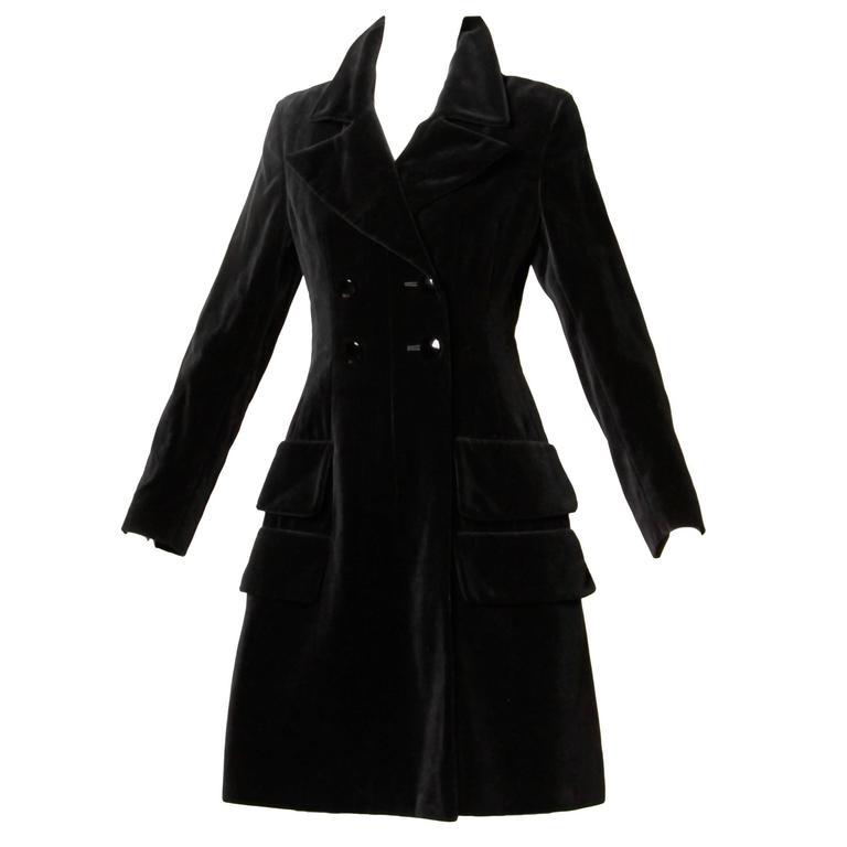 Valentino 1970s Vintage Black Velvet Coat