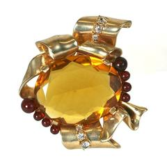 Ciner Faux Citrine and Ruby Retro Sterling Silver Brooch