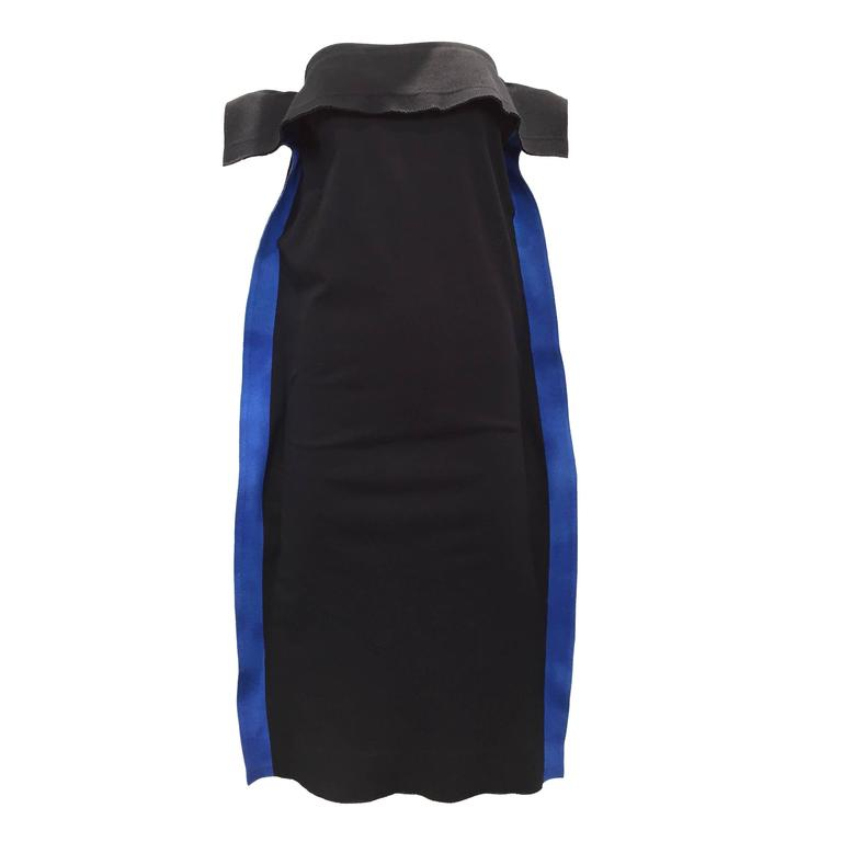 Rare Issey Miyake black and blue strapless  knit dress