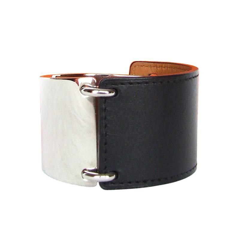 Hermes Thales Bracelet Cuff Black Leather And Palladium Size S For