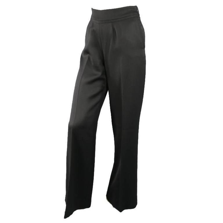 OSCAR DE LA RENTA Size 2 Black Wool High Rise Wide Leg Ribbon Waist Dress Pants 1