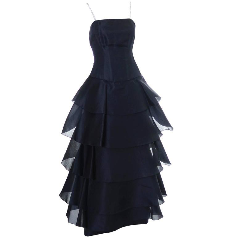 Akira Isogawa Silk Vintage Dress Ruffles Rhinestones Australian Designer 10 1
