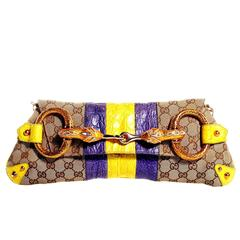 Gucci Tom Ford SS 2004 XL GG Monogram Jeweled Snake Head Crocodile Bag