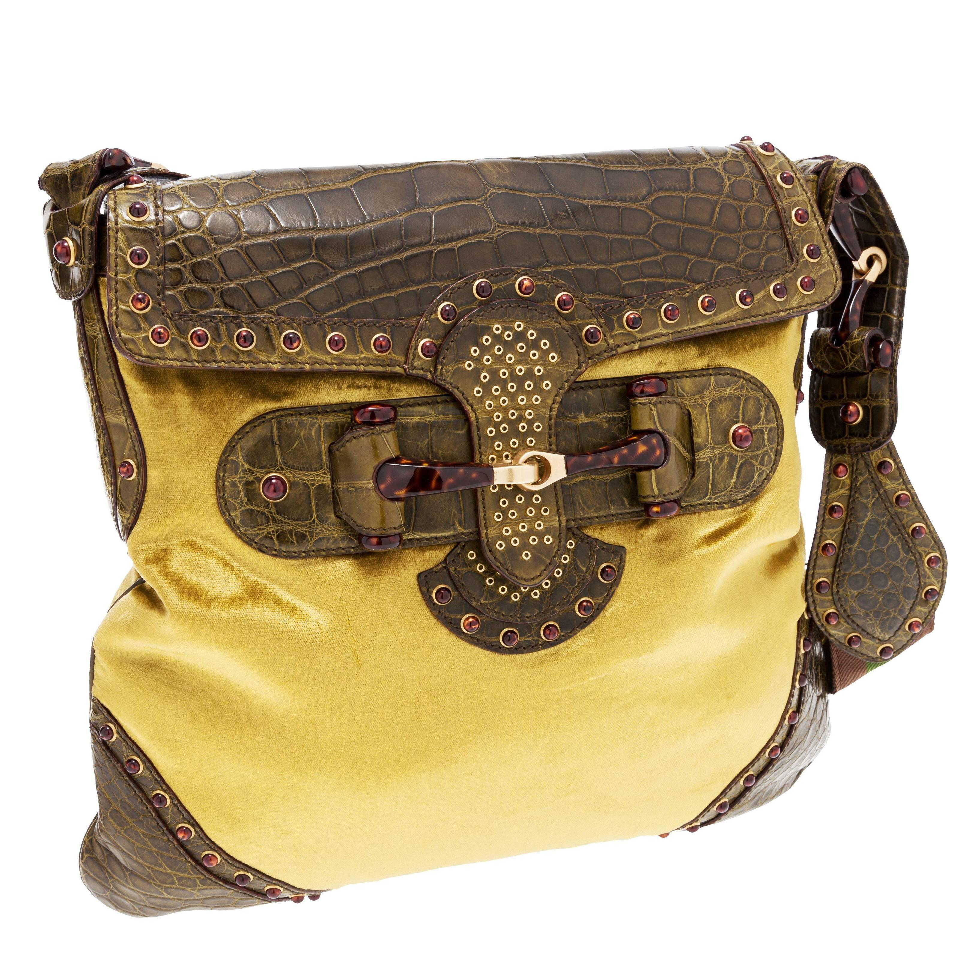 c611b68ab4ca58 Gucci Tom Ford Green Crocodile and Velvet Horsebit Shoulder Bag For Sale at  1stdibs