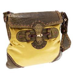 Gucci Tom Ford Green Crocodile and Velvet Horsebit Shoulder Bag