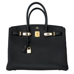 Hermes Black 35cm Birkin Togo Gold Hardware GHW Tote Bag Power Birkin