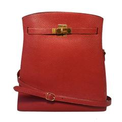 RARE HERMES Vintage Rouge Clemence Leather Kelly Sport Shoulder Bag