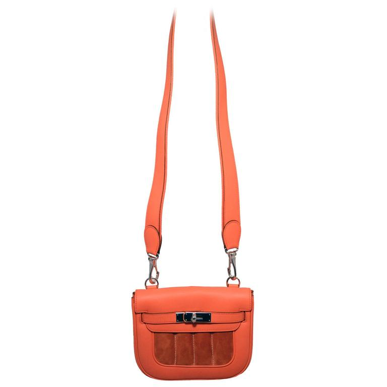 Hermes Orange Suede and Swift Leather Berline Bag-RARE 2
