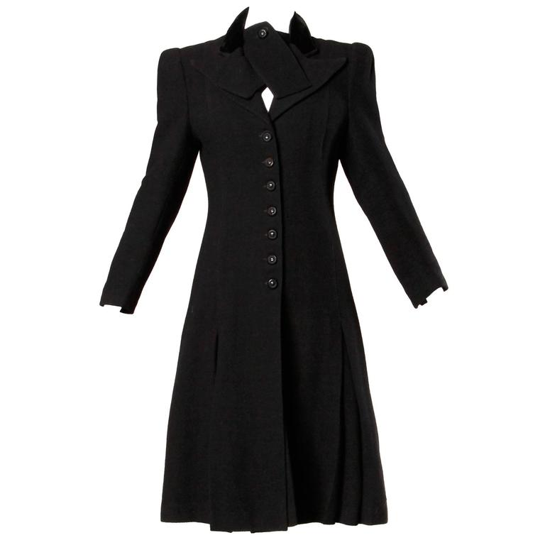 Elegant Vintage 1940s 40s Black Wool Princess Coat with Bold Shoulders 1