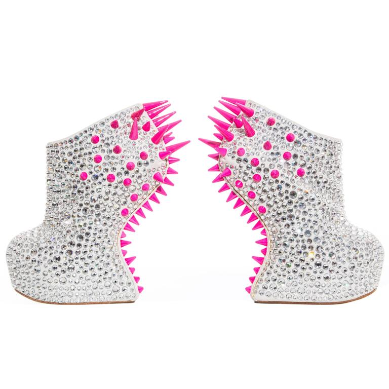 Guiseppe Zanotti Swarovski Crystal & Spike-Embellished Wedges Fall 2012 For Sale