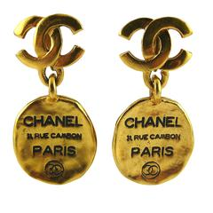 Chanel Vintage Rue Cambon Tag Dangling Earrings