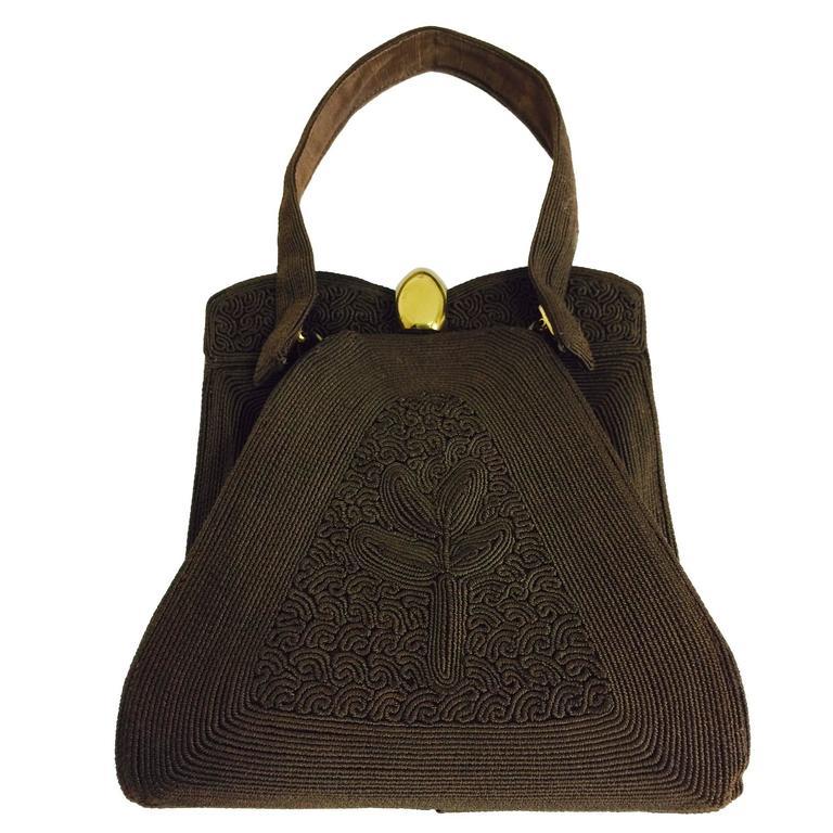 Corde 1940s Unique Chocolate Brown Genuine Handbag For