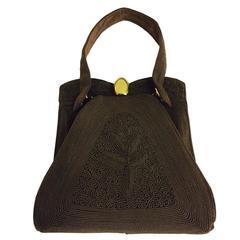 Corde 1940s unique chocolate brown genuine corde handbag
