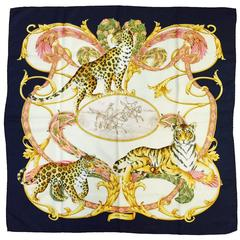 Salvatore Ferragamo Navy Silk Twill Exotic Cats Scarf With Polo Players