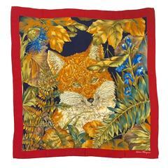 Salvatore Ferragamo 100% Silk Twill Scarf Featuring Exotic Fox