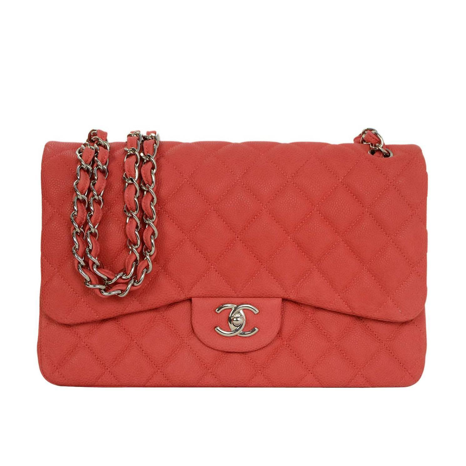 2b4c4bf8199c Chanel Coral Quilted Matte Caviar Jumbo Classic Double Flap Bag SHW For  Sale at 1stdibs