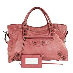 Pink Balenciaga Classic City Leather Bag