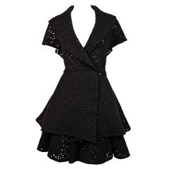AZZEDINE ALAIA black open knit jacket with flared hem and matching skirt