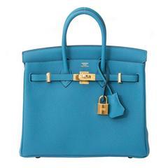 Brand New Hermès Birkin 25 Turquoise GHW