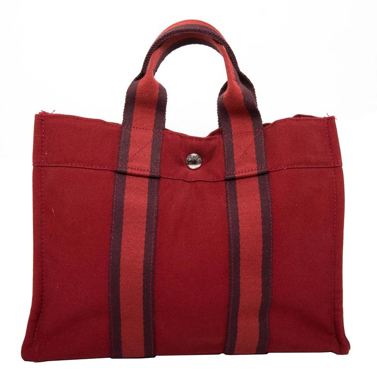 Hermes Navy Red and Navy Canvas Fourre Tout PM Tote Bag 1