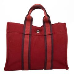 Hermes Navy Red and Navy Canvas Fourre Tout PM Tote Bag