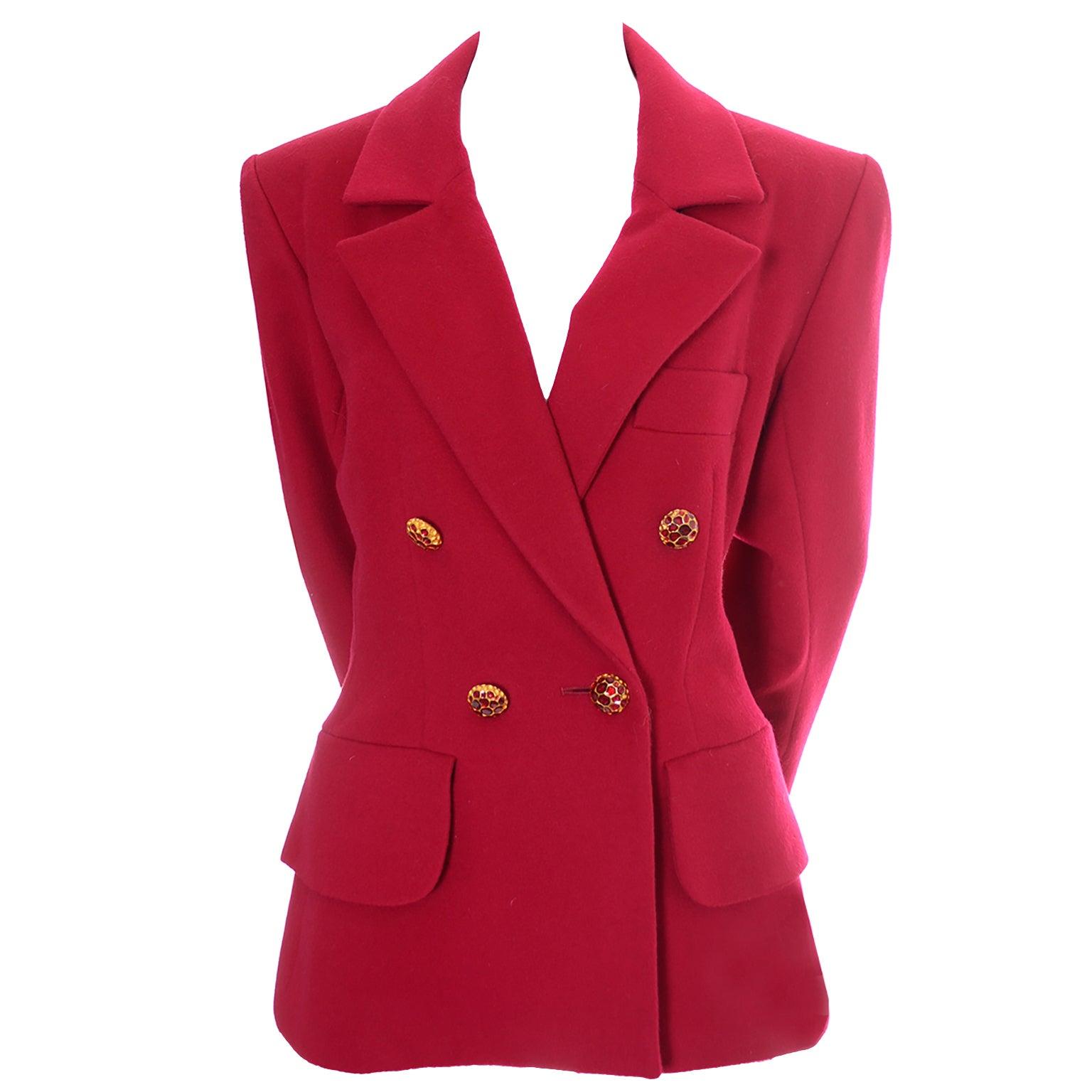 e4e8bc99 YSL Vintage Yves Saint Laurent Raspberry Red Wool Blazer Jacket