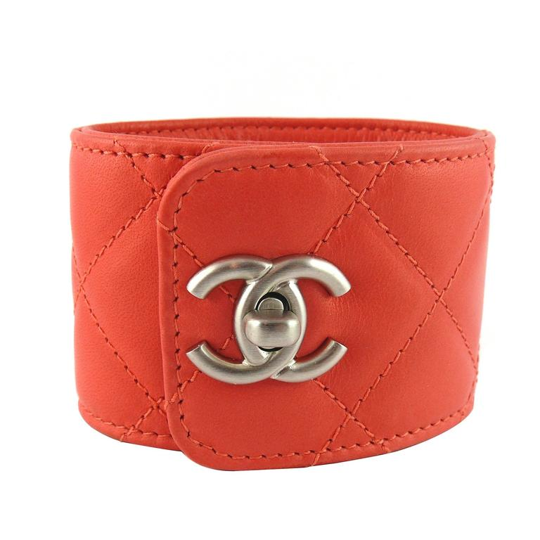 Chanel Quilted Coral Leather CC Turnlock Cuff Bracelet For