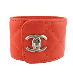 Chanel Quilted Coral Leather CC Turnlock Cuff Bracelet