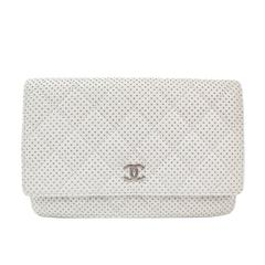Chanel White Leather Perforated Silver Hardware Clutch Wallet