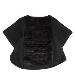 Prada Black Angora & Mink Poncho
