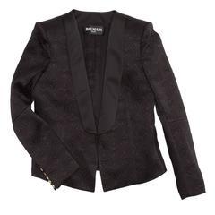 Balmain Black Jaquard Tuxedo Jacket