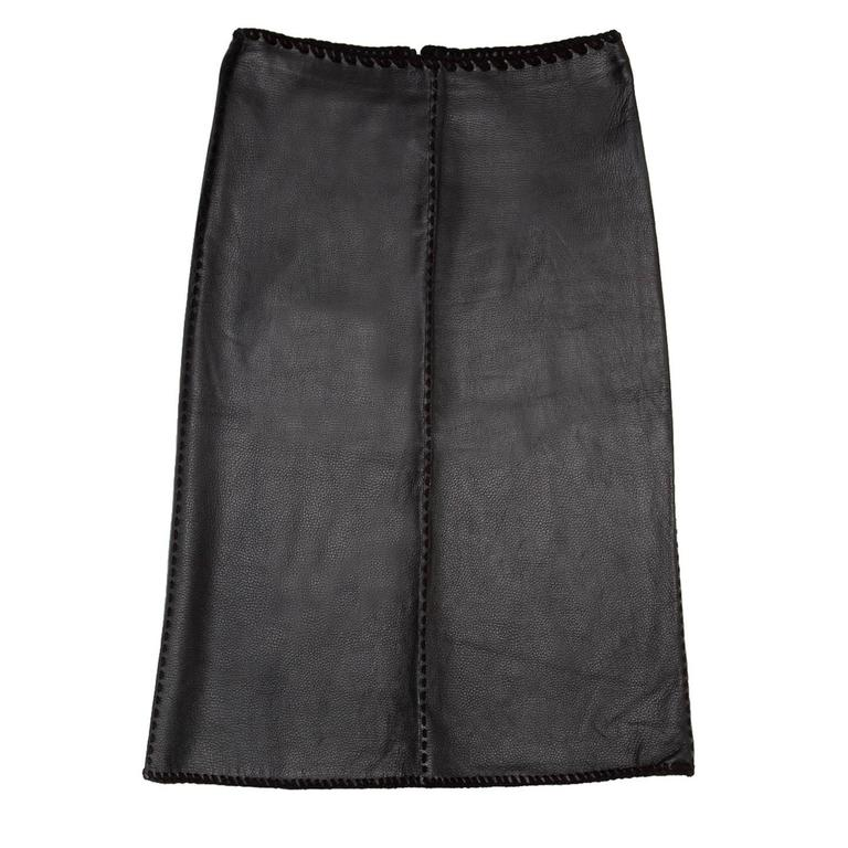 Katayone Adeli Black leather Skirt For Sale