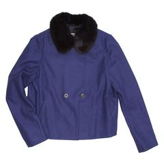 Jil Sander Blue Wool & Fur Short Jacket
