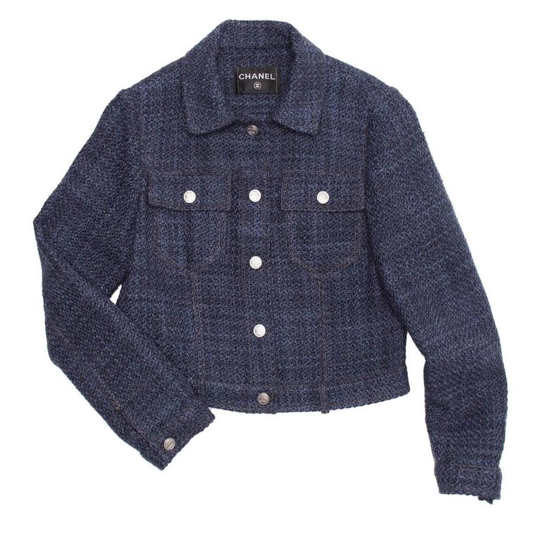 Chanel Indigo Wool Short Trucker Style Jacket