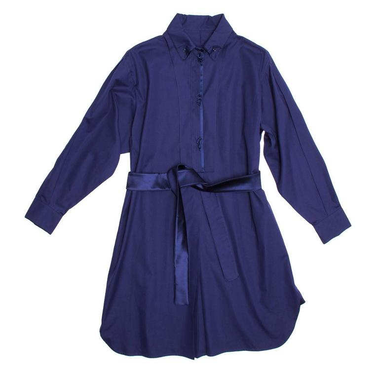 Yves Saint Laurent Royal Blue Silk & Cotton Shirt Dress