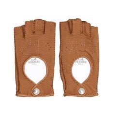 Hermès Tan Fingerless Gloves