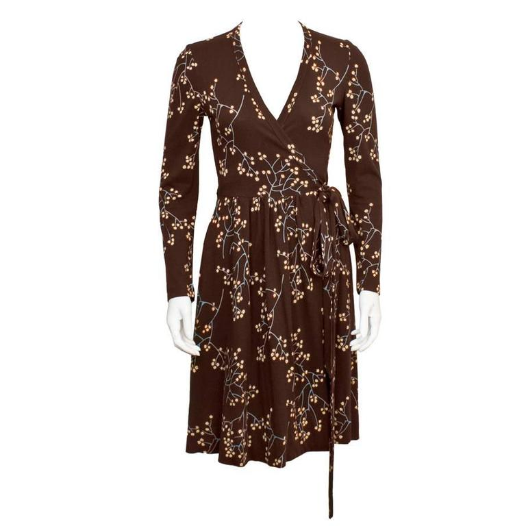 1e4e9e0b5ab4 1970's Diane Von Furstenberg Brown Floral Wrap Dress For Sale at 1stdibs