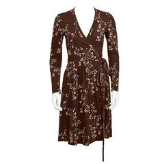1970's Diane Von Furstenberg Brown Floral Wrap Dress