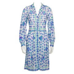 1970's Emilio Pucci Blue and White Flower Print Cover Up