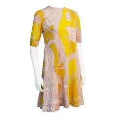 1970's Yellow & Pink Silk Jersey Swing Dress