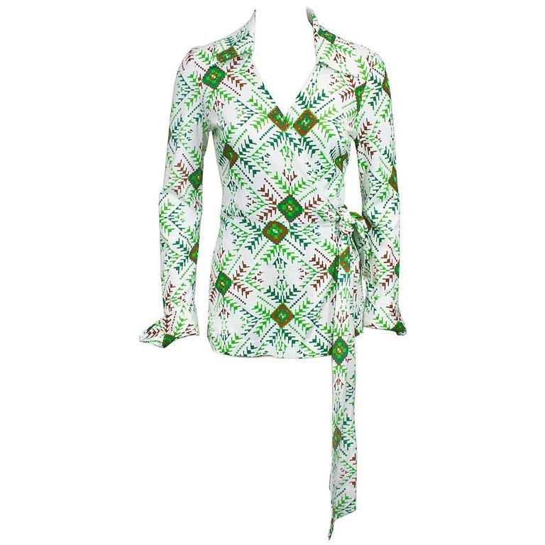 Circa 1970's Green and White Iconic Wrap Top 1